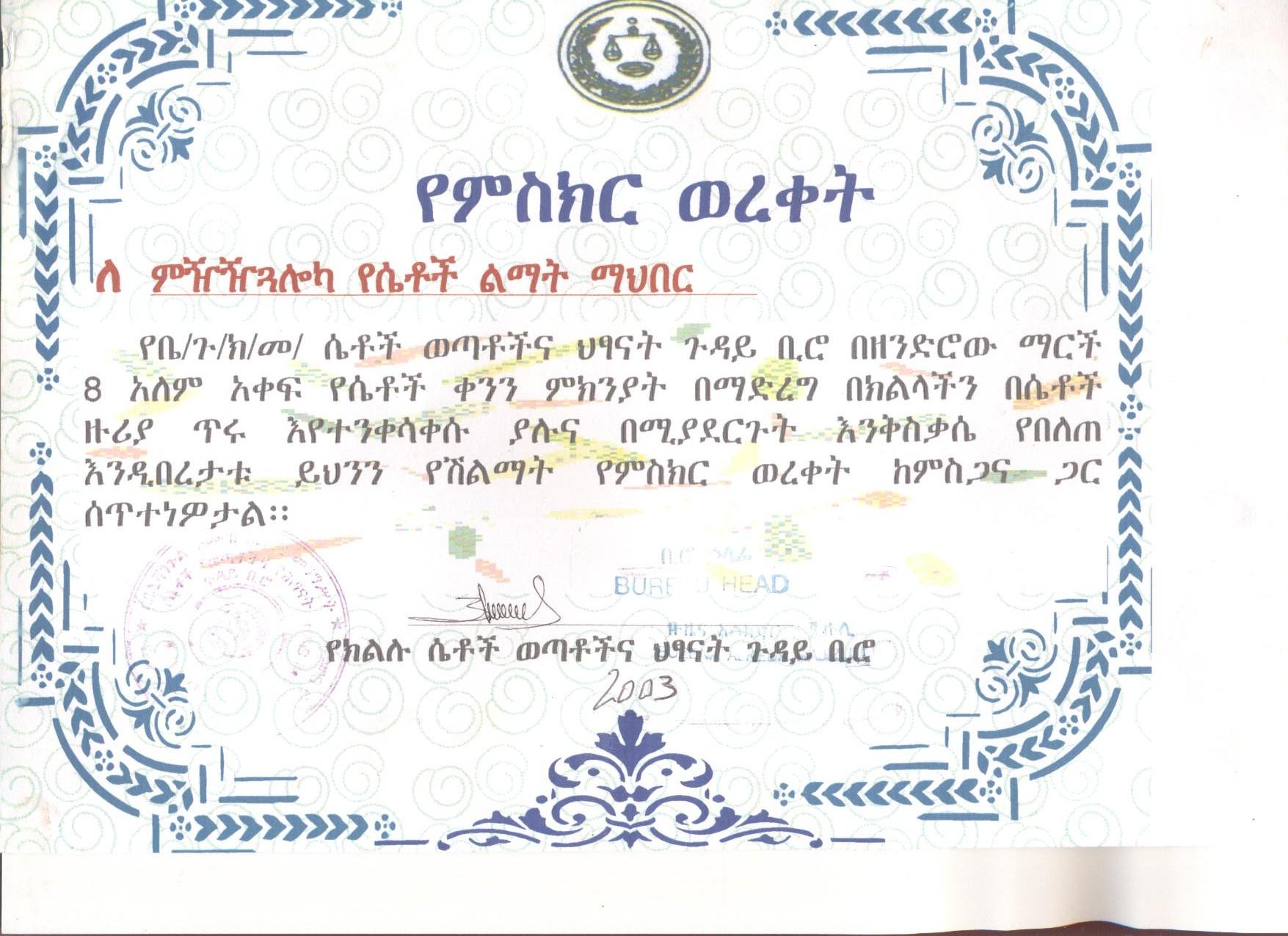 Certificate of Encouragement